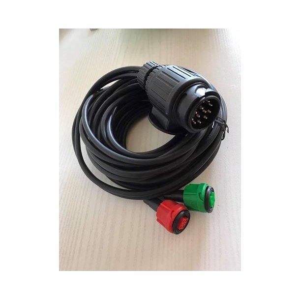 5 m Radex dobbelt kabel med 13 polet stik og 2 stk. 5 polet stik