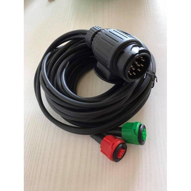 6 m Radex dobbelt kabel med 13 polet stik til bilen og 2 stk. 5 polet multistik