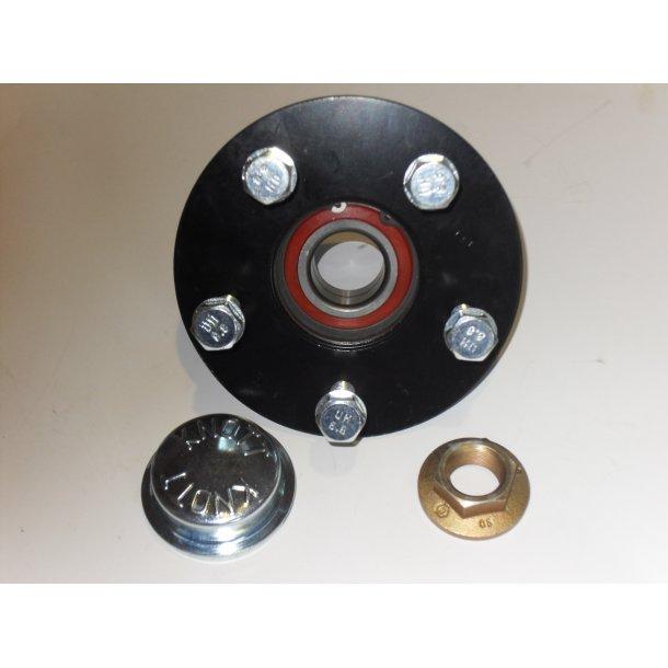 Hjulnav vandtæt 750 kg 5 huls til løbeaksel med akselstump Ø 40 mm.