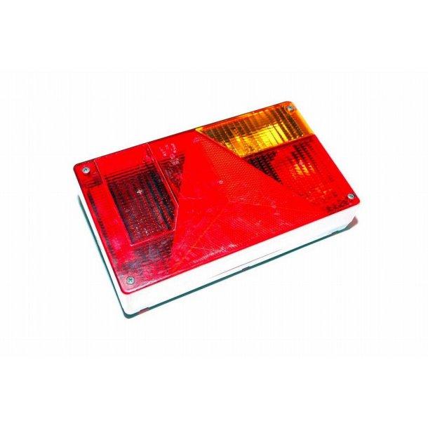 Jokon Trailer baglygte Type BBSKN 595 Højre side med 5 polet multistik og pærer monteret, trekant reflektor. Mål : 235 x 135 x 50 mm