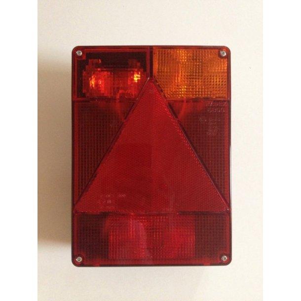 Radex Multifunktions baglygte model 6800 højre side. lev. med 2 multistik samt pærer og intergreret trekant reflektor. Mål : B 160 x H 220 x T 60 mm