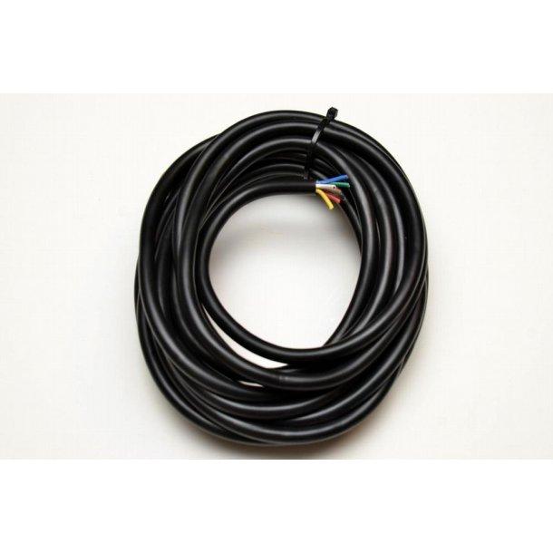 Kabel, 7 leder tykkelse kobber 1,0 kvadrat, farve sort - afskæres løbende m efter ønske, pris pr. m.