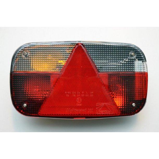 Aspöck Multipoint III Venstre Baglygte glas med trekant reflektor, Mål : 240 x 140 x 52 mm